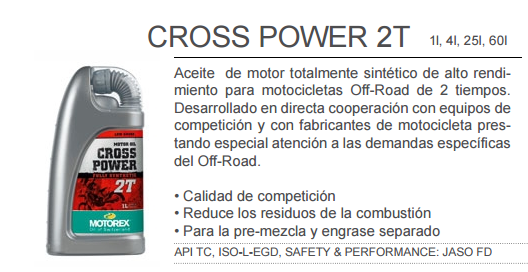 ACEITE MOTOREX CROSS POWER 2T 1L.