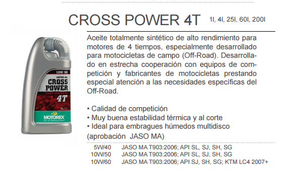 ACEITE MOTOREX CROSS POWER 4T 10W60 1L