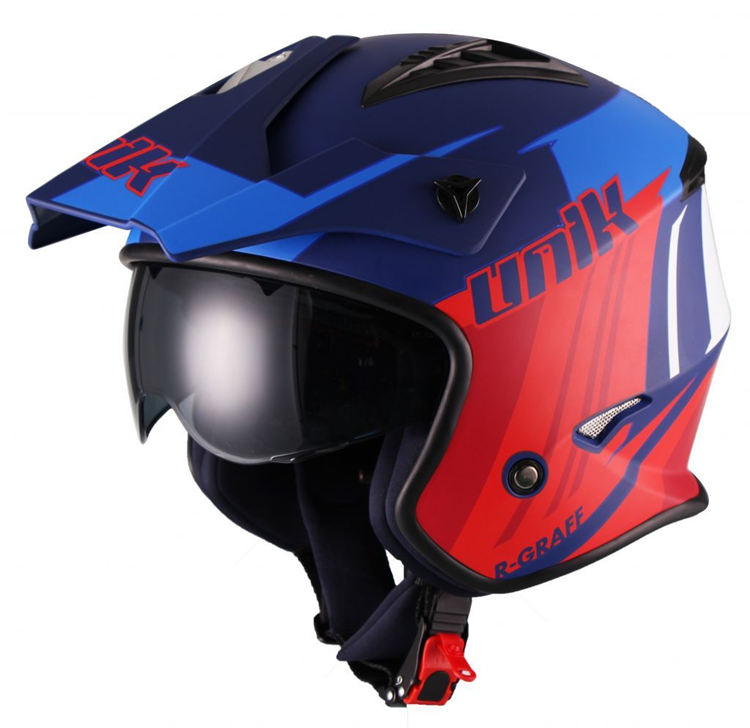 CASCO UNIK TRIAL CT07 GRAFF GAFAS AZUL ROJO BLANCO XL