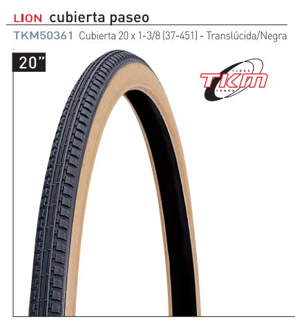 CUBIERTA BICICLETA TKM 20-1-3/8 TRANSLUCIDA-NEGRA