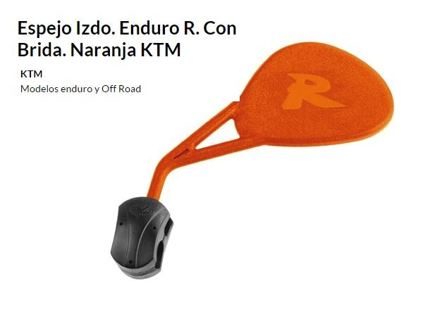 ESPEJO E382INJ ENDURO R. AL MANILLAR PLEGABLE NARANJA IZQUIERDO