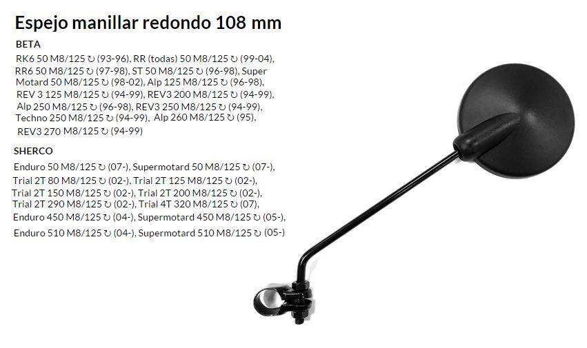 ESPEJO E06 M8 UNIVERSAL AL MANILLAR AMBOS LADOS