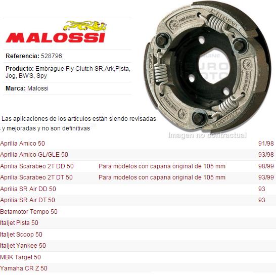 EMBRAGUE MALOSSI SR-JOG-BWS D.105