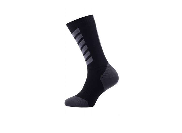 CALCETINES SEALSKINZ MTB MID HYDROSTOP IMPERMEABLE NEGRO GRIS L 43-46