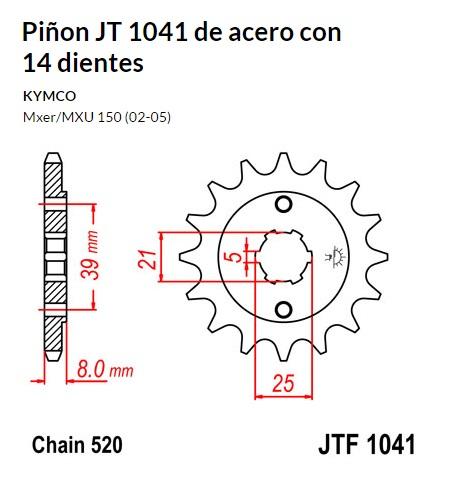 PIñON JT 1041 de acero con 14 dientes