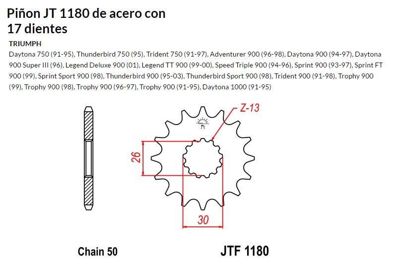 PIñON JT 1180 de acero con 17 dientes
