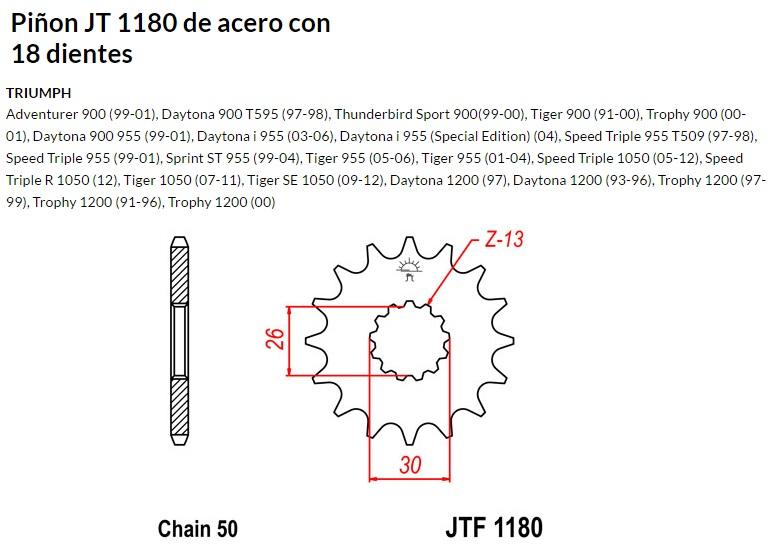 PIñON JT 1180 de acero con 18 dientes