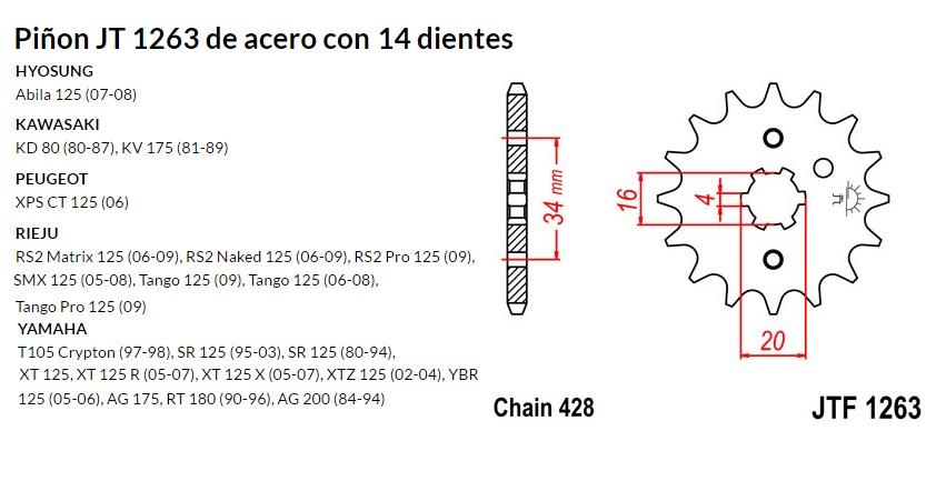 PIñON JT 1263 de acero con 14 dientes