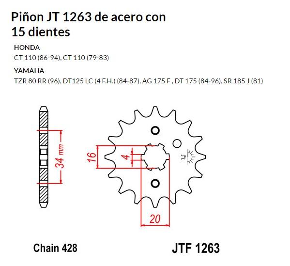 PIñON JT 1263 de acero con 15 dientes