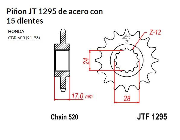 PIñON JT 1295 de acero con 15 dientes