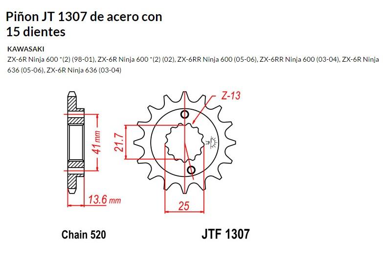 PIñON JT 1307 de acero con 15 dientes