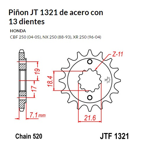 PIñON JT 1321 SUN 36113 13 dientes