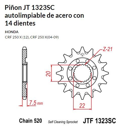 PIñON JT 1323SC autolimpiable de acero con 14 dientes