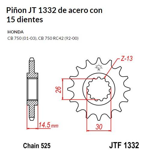 PIñON JT 1332 de acero con 15 dientes