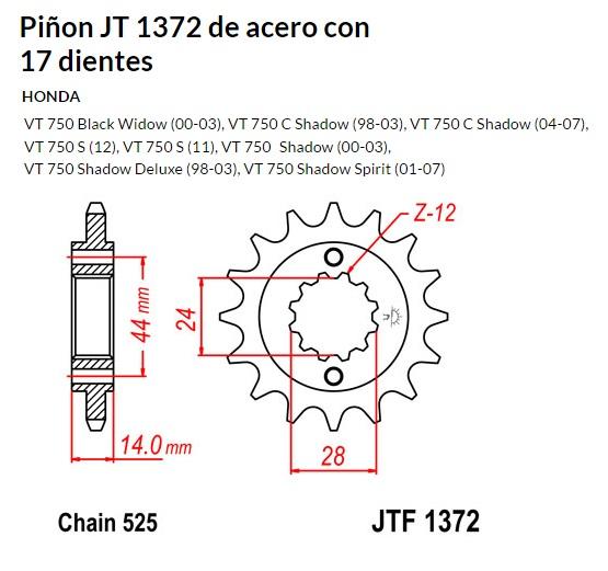 PIñON JT 1372 de acero con 17 dientes