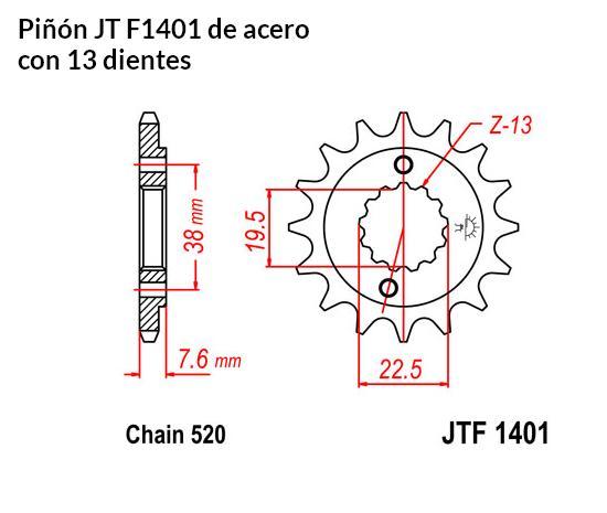 PIñON JT 1401 de acero con 13 dientes