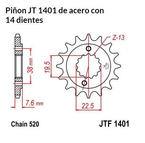 PIñON JT 1401 de acero con 14 dientes