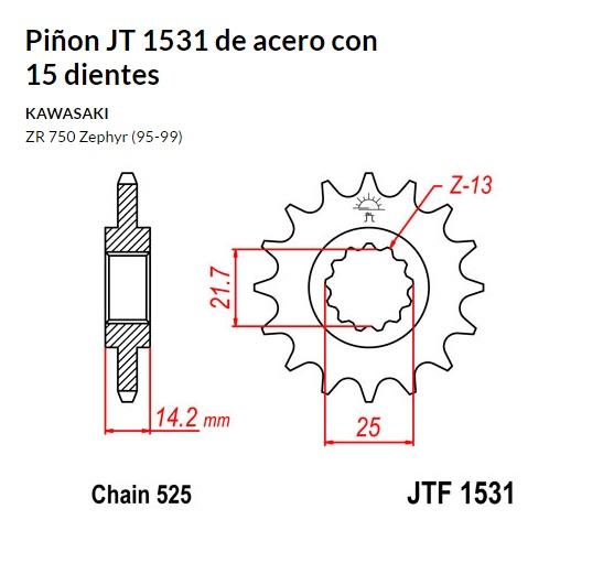 PIñON JT 1531 de acero con 15 dientes