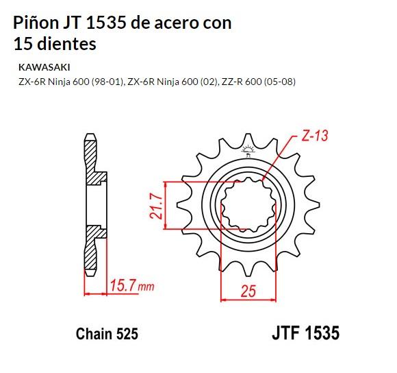 PIñON JT 1535 de acero con 15 dientes