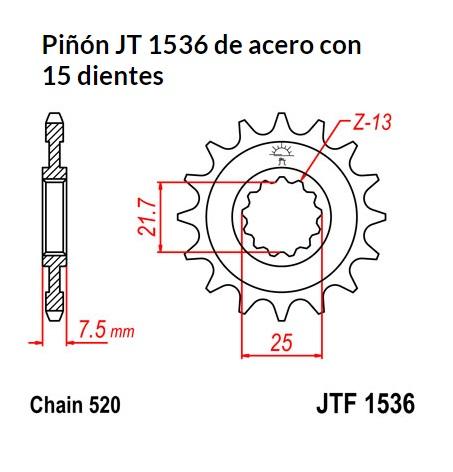 PIñON JT 1536 de acero con 15 dientes