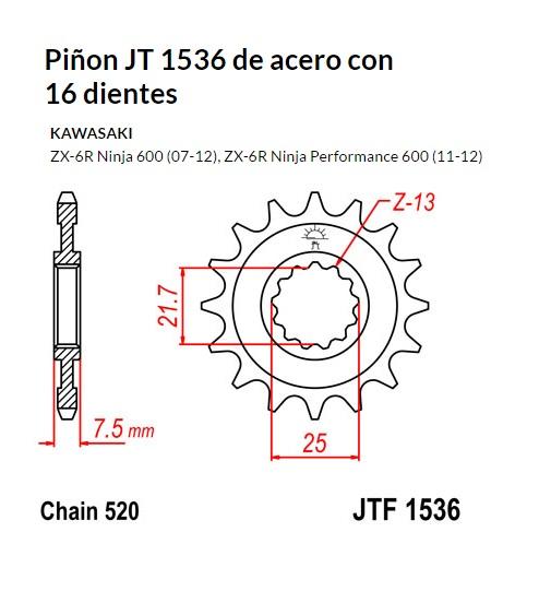 PIñON JT 1536 de acero con 16 dientes