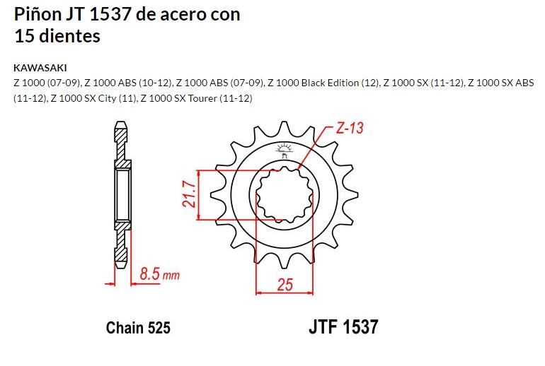 PIñON JT 1537 de acero con 15 dientes