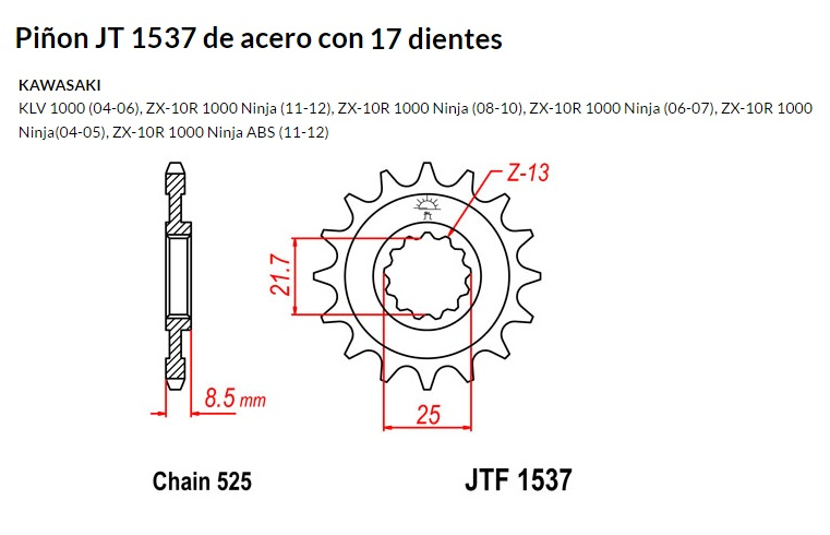 PIñON JT 1537 de acero con 17 dientes