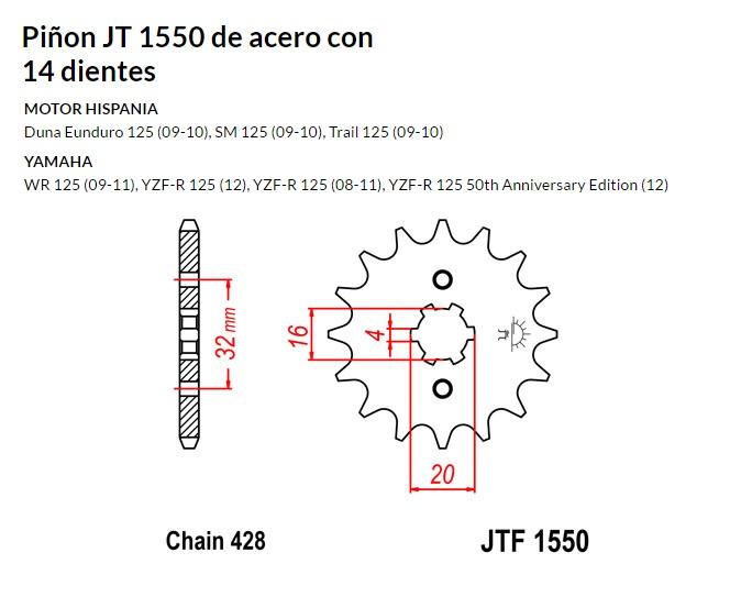 PIñON JT 1550 de acero con 14 dientes