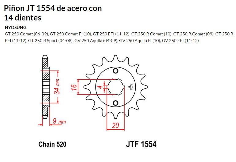 PIñON JT 1554 de acero con 14 dientes