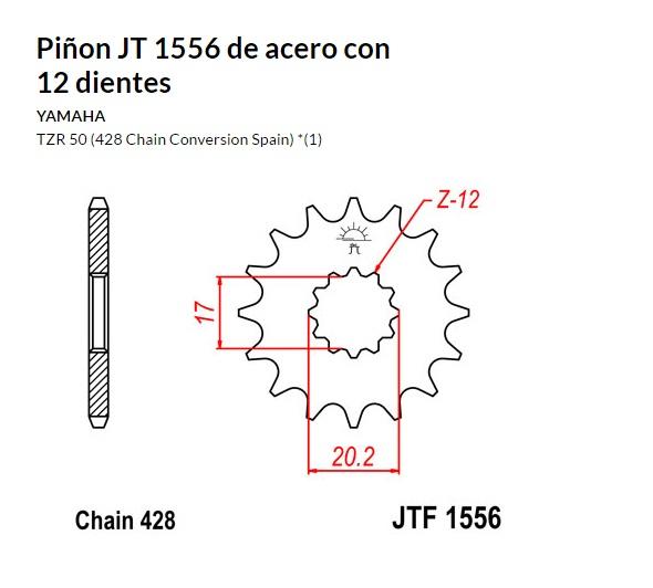 PIñON JT 1556 de acero con 12 dientes