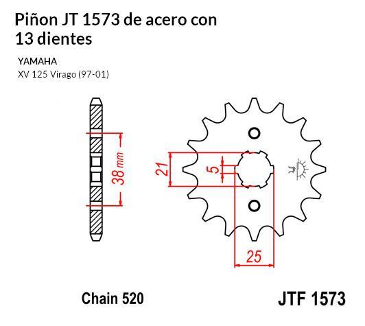 PIñON JT 1573 de acero con 13 dientes