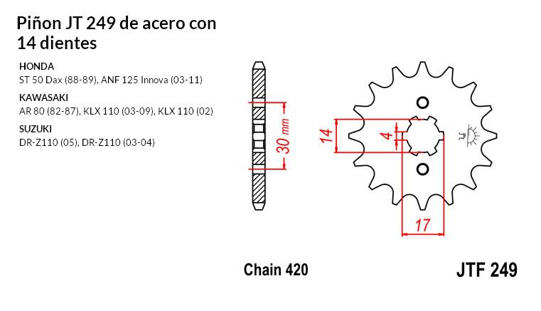 PIñON JT 249 de acero con 14 dientes