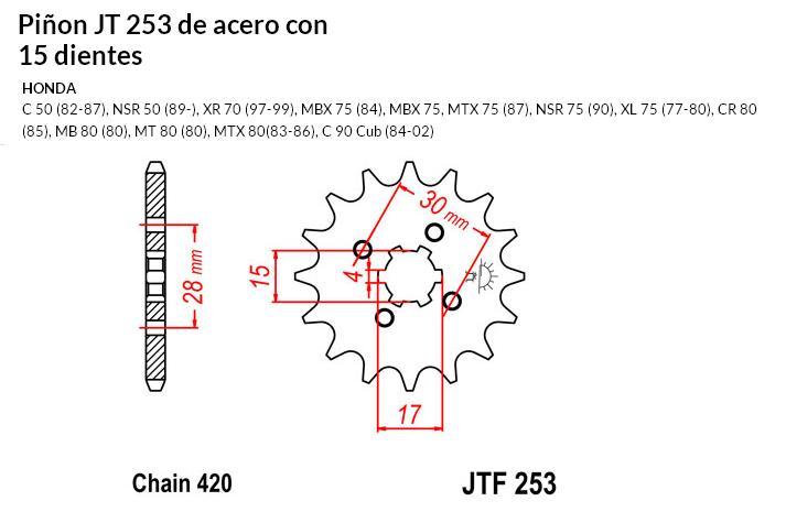 PIñON JT 253 de acero con 15 dientes