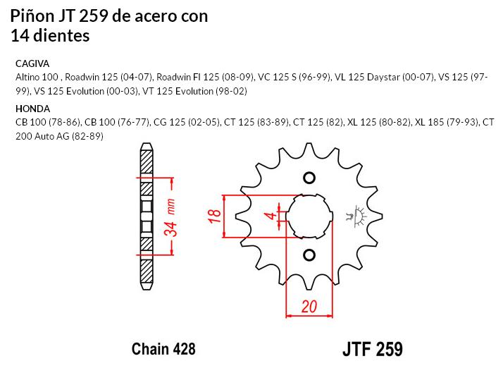 PIñON JT 259 SUN 20714 14 dientes