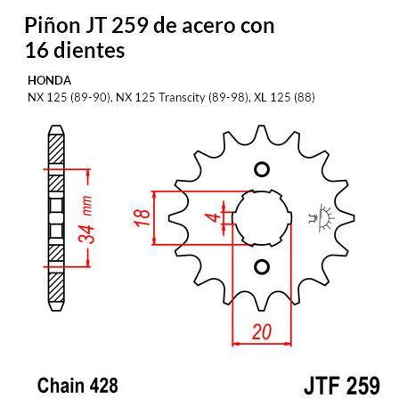 PIñON JT 259 de acero con 16 dientes