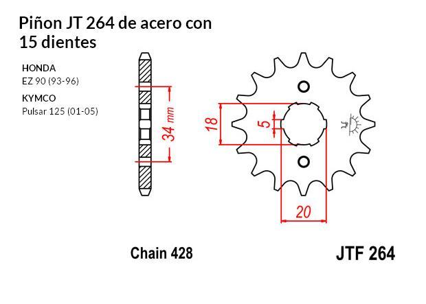 PIñON JT 264 de acero con 15 dientes