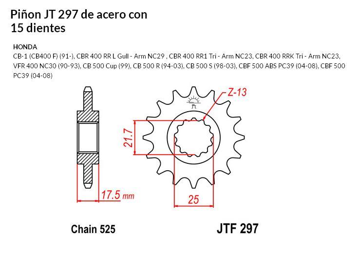 PIñON JT 297 SUN 40815 15 dientes