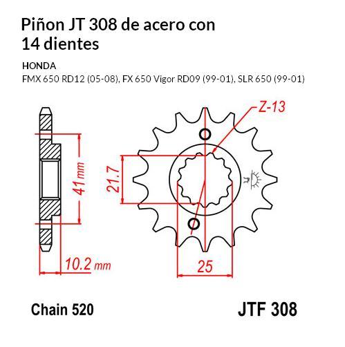 PIñON JT 308 de acero con 14 dientes