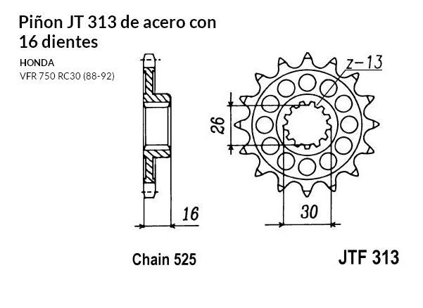 PIñON JT 313 de acero con 16 dientes
