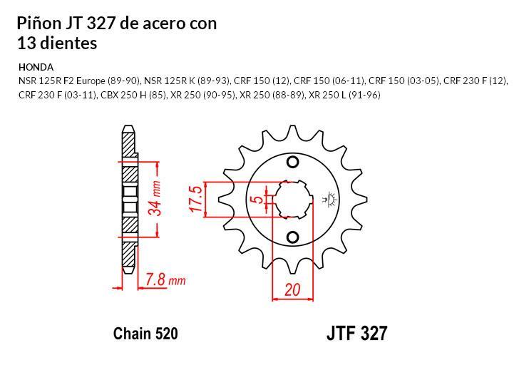 PIñON JT 327 de acero con 13 dientes
