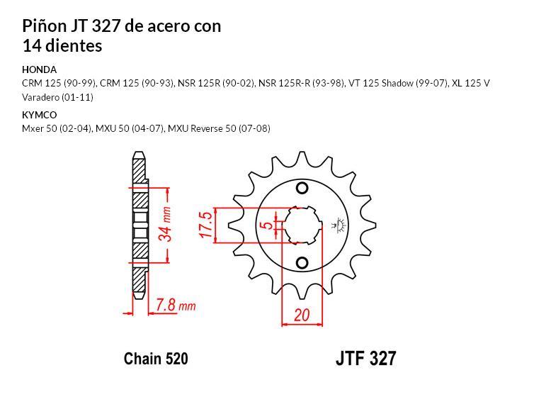 PIñON JT 327 de acero con 14 dientes