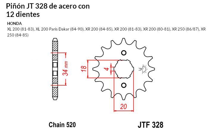 PIñON JT 328 de acero con 12 dientes
