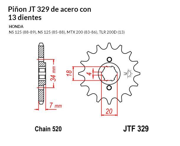 PIñON JT 329 de acero con 13 dientes