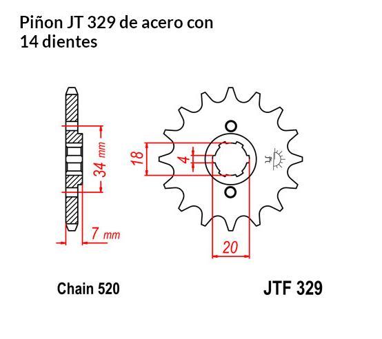 PIñON JT 329 de acero con 14 dientes