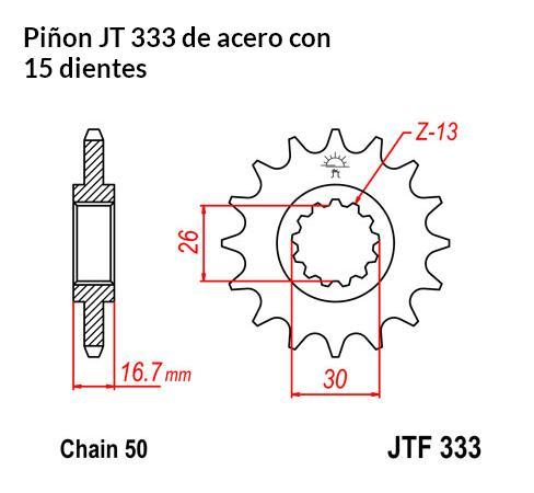 PIñON JT 333 de acero con 15 dientes