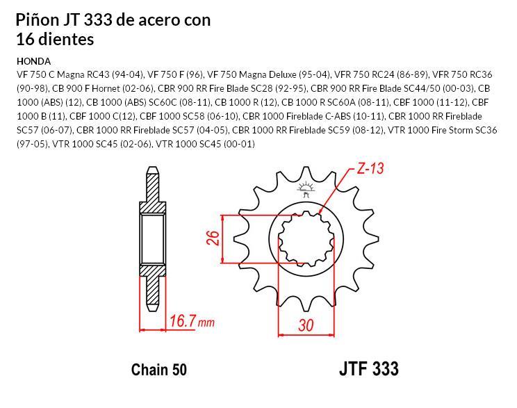 PIñON JT 333 SUN 52216 16 dientes