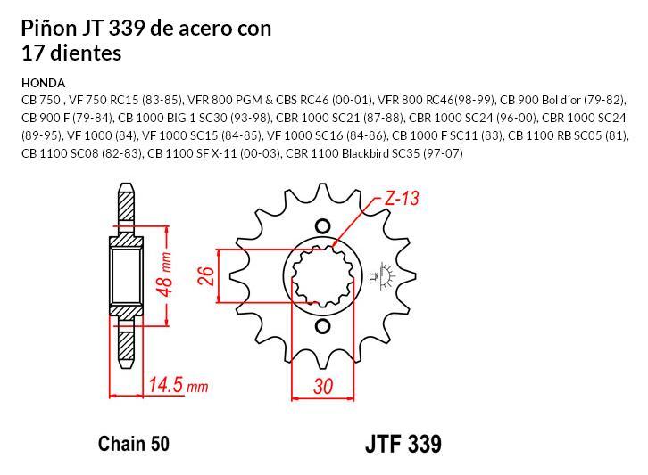 PIñON JT 339 SUN 51217 17 dientes