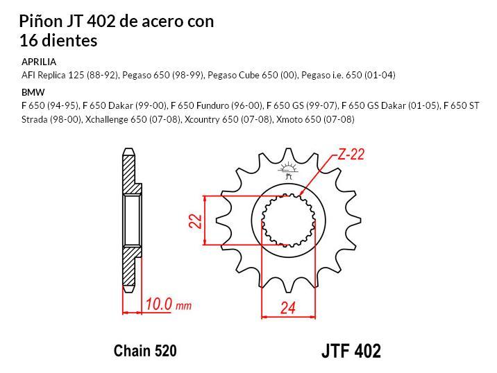 PIñON JT 402 de acero con 16 dientes