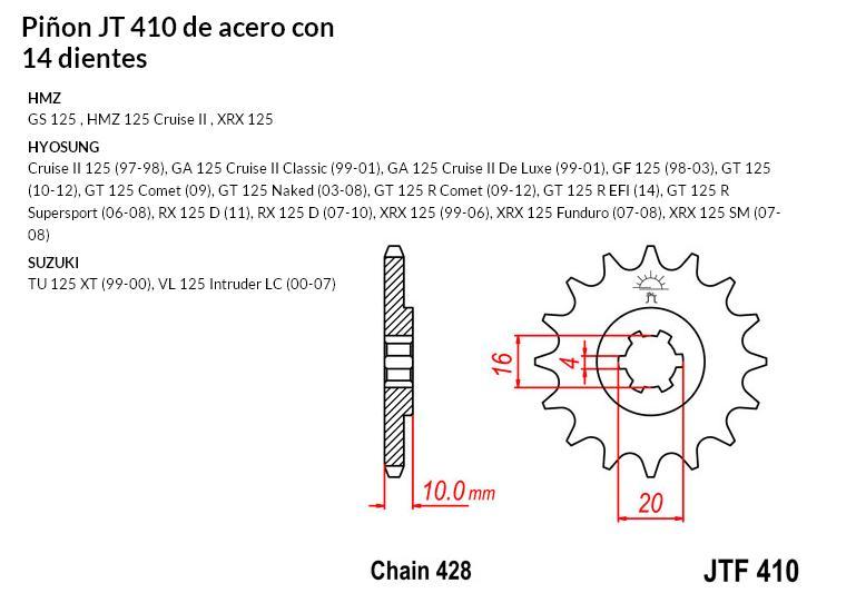 PIñON JT 410 SUN 22714 14 dientes
