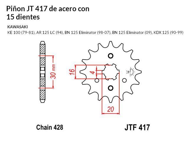 PIñON JT 417 de acero con 15 dientes